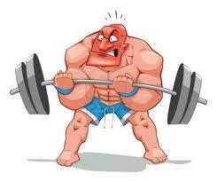 hombre levantando barra pesas musculos